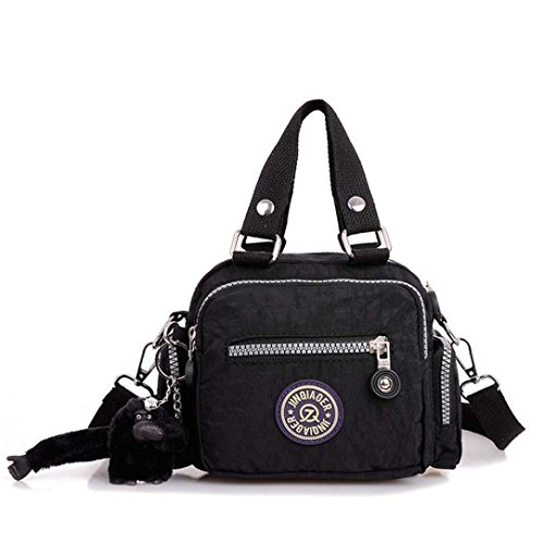 Amison Waterproof Shoulder Handbag Classic Messenger Diagonal Nylon Black Bag rzxP7qr5