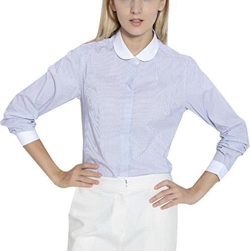 La Vogue Chemisier Top Bleu Coton Manche Longue Col Revers Rayure Femme Fille