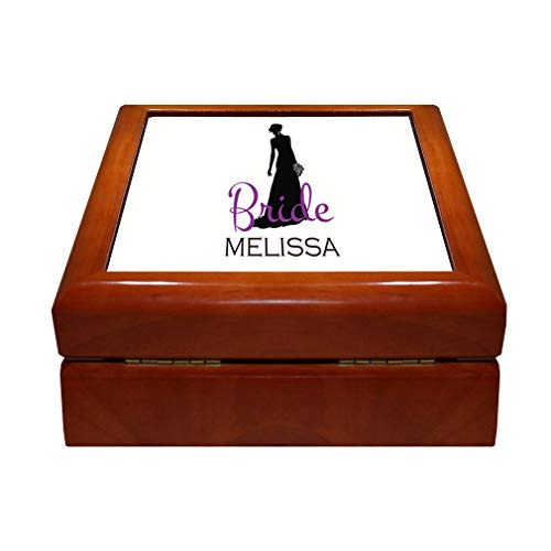 Style In Print Personalized Custom Text Occasion Bride Silhouette Wood Organizer Jewelry Box 4