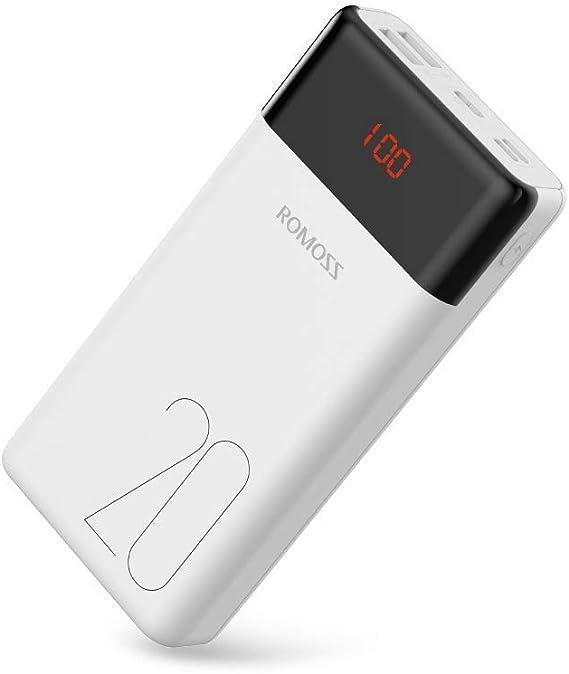 TALLA 20000mAh. Romoss Bateria Externa para Movil, Power Bank 20000mAh con Pantalla LED, batería Externa para Cargador portátil, Cargador USB Ultra Compacto, batería para teléfonos móviles, iPad, Samsung