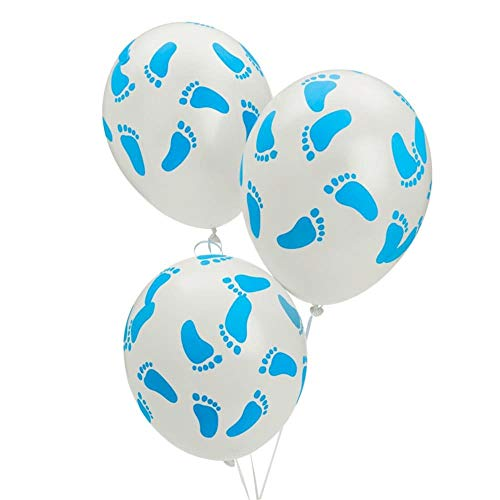 (Fun Express FX IN-3/2288 25 Baby Shower Party Blue Footprint Latex Balloons, 11