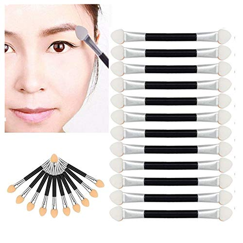 Han Shi Brushes, Make Up Double-end Eye Shadow Eyeliner Sponge Applicator Tool 10Pcs (Black, L)