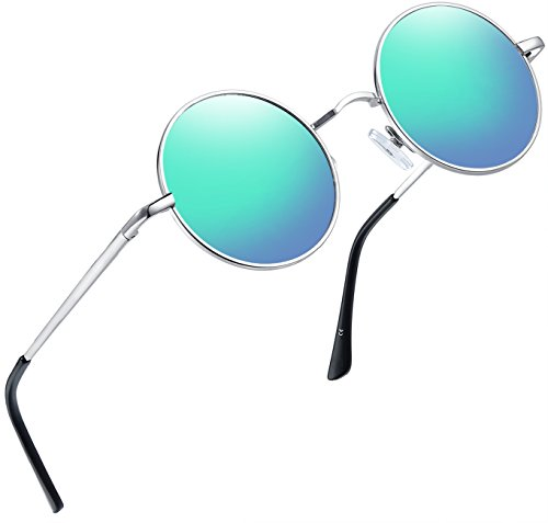 Joopin-Round Retro Polaroid Sunglasses Driving Polarized Sun Glasses Men Steampunk (Green Blue) (Disco Glass Mirror)