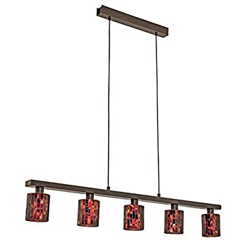 Eglo Troya 5-Light 59 in. Hanging Ceiling Antique Brown Island Light with Mosaic Glass Shade 20965A
