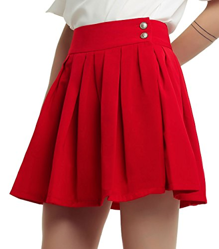 chouyatou Women's Double Waist Side Buttons Pleated Skirt (X-Large, Red) Button Pleated Mini Skirt