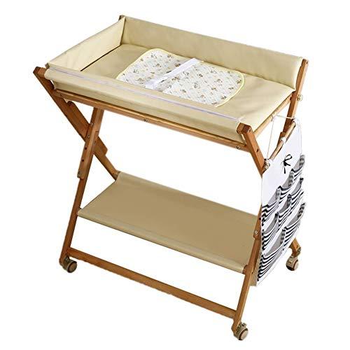 Mesa para cambiar pañales Cambiador plegable de madera para bebés con almacenamiento y tapete impermeable, estación de...