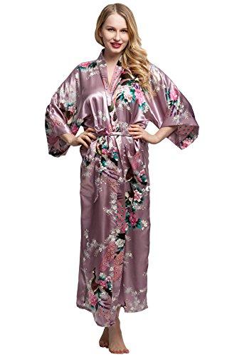 (KimonoDeals Women's dept Satin Long Kimono Robe with Peacock and Blossom Design, Pink-Purple)