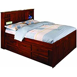 Discovery World Furniture Bookcase Captains Bed with 6 Drawers, Full, Merlot