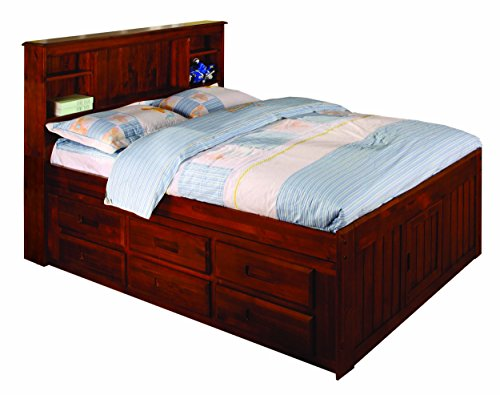 Discovery World Furniture Bookcase Captains Bed with 6 Drawers, Full, Merlot (Merlot Panel Bed)