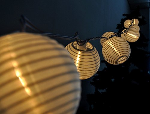 Minetom Set of 10 Warm White Indoor Outdoor Mini Oriental Style Nylon Lantern Plug-in String Lights Expandable to 150 Lights (Plug In Led Lantern compare prices)