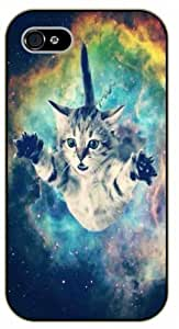 iPhone 5 / 5s Space cat flying - black plastic case / Cats, Hipster