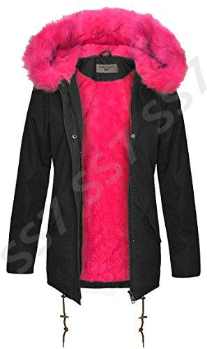 8 Tailles FOURRURE SS7 Rose Faux PARKA Femmes 16 MANTEAU ROSE Noir pour 4FYwp0qY