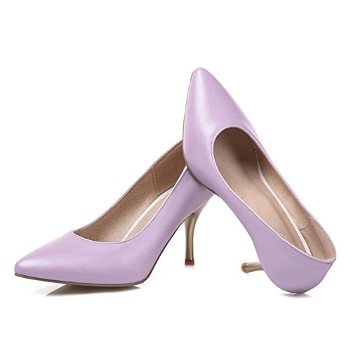 SJJH Thin Heel Pumps with Large Size for Working Women Comfortable Working Women Shoes Purple mNxe4M