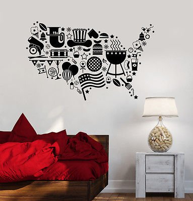 Vinyl Decal USA Map Symbol Flag Holidays United States Wall Stickers (vs3603) ()