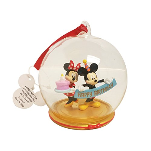 Disney Parks Mickey Minnie Mouse Birthday Figurine Dome Ornament