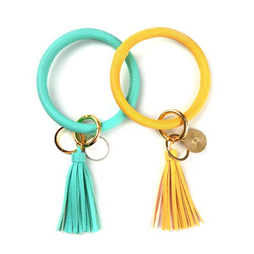 2pcs Fashionable Wristlet Keychain Bracelet Bangle Keyring, ANDERSE Premium O Rings Key Chain Tassel Bracelet Key Ring, Key Chain Holder for Girls Women's Keychains - Free Your Hands(Yellow, Green))