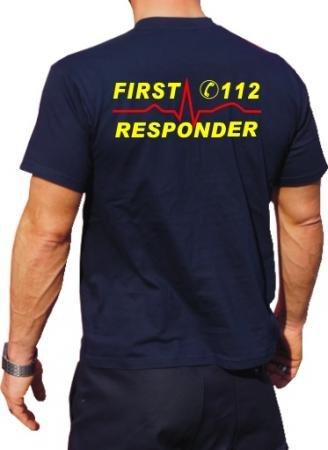 T-Shirt FIRST RESPONDER mit Notrufnummer und Herzrhythmus - neongelb/rot, beidseitig feuer1