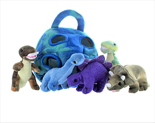 5 Pack Dinosaur Plush Soft Stuffed Animal Playset With Carrying -