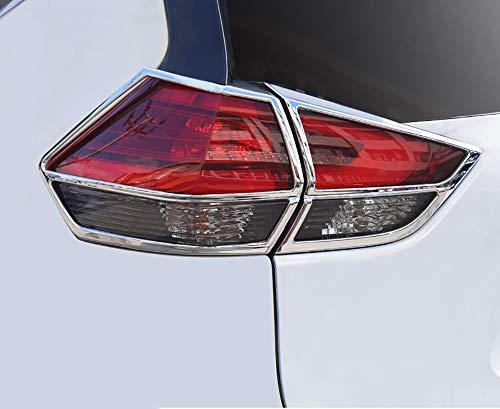 (Kadore for 2017-2019 Nissan Rogue Chrome Car Rear Tail Lights Covers Bezel Trim Molding 4-pc)