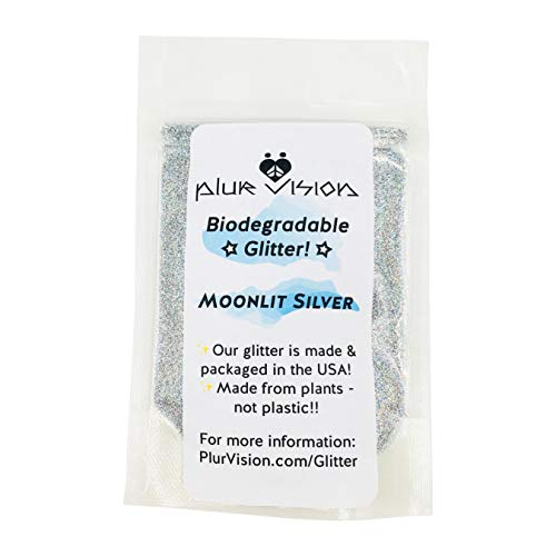 Moonlit Silver Biodegradable Glitter 1/4 Ounce - Made from Plant Cellulose, Earth Friendly. Perfect for Body, Cosmetics, Crafts, DIY Projects. Can be Mixed with Lotions, Gels, Oils, Face Paint