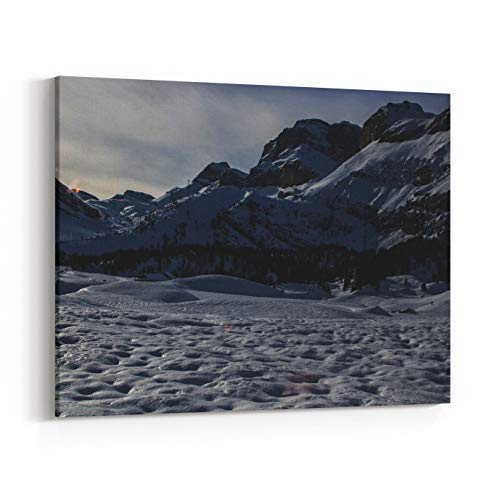 Rosenberry Rooms Canvas Wall Art Prints - Picture of A Winter Hike Day in Switzerland from Leukerbad to Kandersteg (36 x 24 inches)
