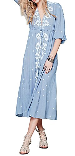 R.Vivimos Womens Boho Floral Embroidered Casual Drawstring Tie Cotton Long Dresses XXL Blue