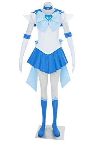 [Dazcos Sailor Moon SuperS Mercury Mizuno Ami Battle Cosplay Costume Dress (Women L)] (Sailor Moon Adult Womens Costumes)
