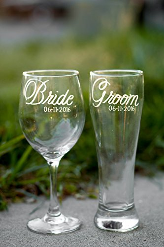 Pint Pilsner Glass (Bride Wine Glass and Groom Beer Glass in Script Font with Wedding Date, Hand Engraved, Set of 2 - Choose from Wine, Pilsner, Pint or Whisky Glasses - Script)