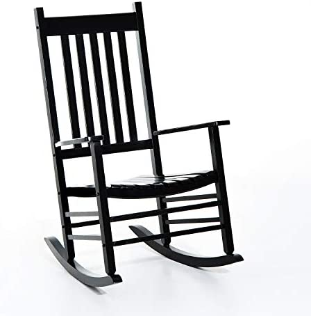 Outsunny Porch Rocking Chair – Outdoor Patio Wooden Rocker – Black