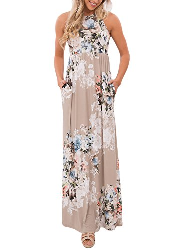 Jug&Po Women's Floral Print Sleeveless Long Maxi Casual Dress (Large Beige)