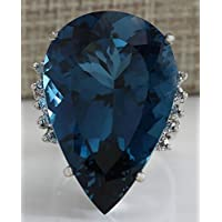 Large Blue Sapphire Ring Women 925 Sterling Silver Wedding Engagement Jewelry by pho (10)