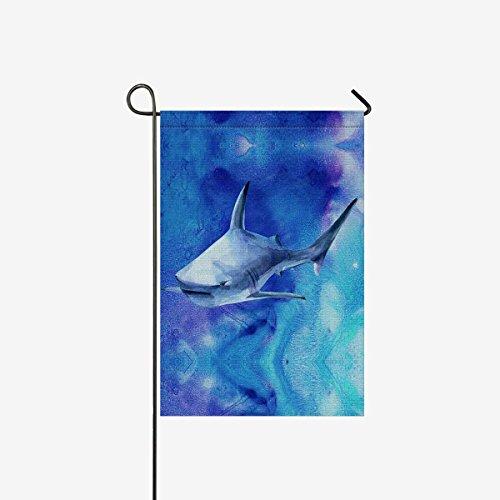 InterestPrint Watercolor Sea Life Blue Shark Decorative Flag