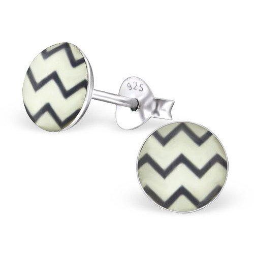 Girls Wave Colorful Ear Studs 925 Sterling Silver