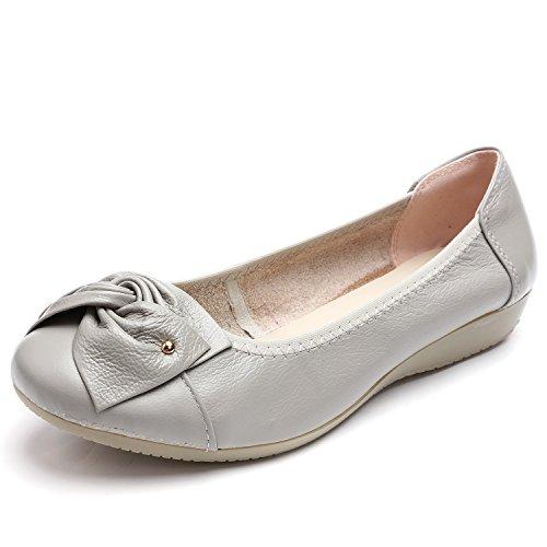 Odema Femmes En Cuir Slip Ons Mocassins Appartements Mocassins Chaussures De Conduite Casual Chaussures De Marche 11 Couleurs Taille 6.5-9.5 Argent