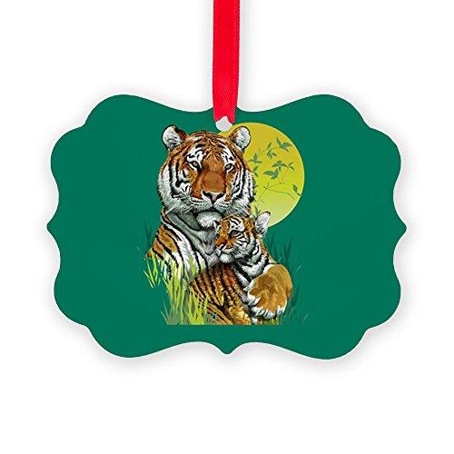 (Picture Ornament Tiger Family Cub Stripes in Jungle)