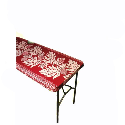 Hawaiian Tropical Fabric Tablecloth for 6' Center-fold Table, Red - Center Hawaiian