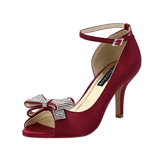 Evening ERIJUNOR Women Rhinestones Wedding Middle Burgundy Shoes Bows Heel Satin Comfortable Party Toe Peep xarvxw