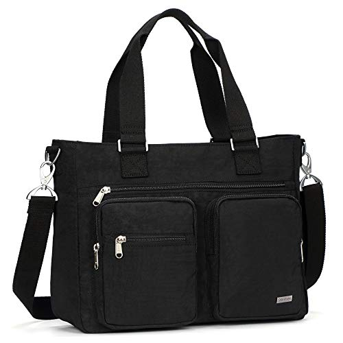 Crest Design Water Repellent Nylon Shoulder Bag Handbag, 14 inch Laptop Bag Notebook Briefcase Travel Work Tote Bag (Black)