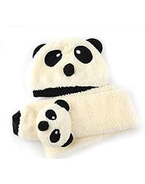 Cute Panda Unisex-Baby Cap with Scarf Set Keeping Warm in Winter,Off-w...
