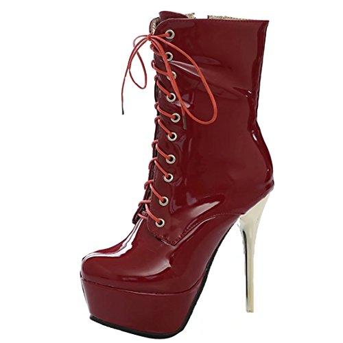 AIYOUMEI Damen Lackl Stiletto Stiefeletten mit Plateau und Schnürung Reißverschluss Stiefel Schuhe Rot
