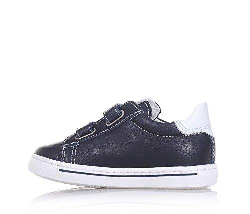 NERO GIARDINI - Blauer Schuh aus Leder, made in Italy, doppelter Klettverschluss, hinten ein weißer Einsatz, Jungen