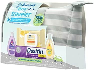 41hSR4PKePL. AC Johnson's Tiny Traveler Baby Gift Set, Baby Bath and Skin Care Essential Products, TSA-Compliant Travel Baby Gift Set, Hypoallergenic & Paraben-Free, 5 Items    Johnson's Tiny Traveler Gift Set lets parents discover and explore with their little one. Designed with input from parents like you this baby travel gift set contains an assortment of travel-size baby essentials specially designed for baby's delicate skin and hair. Great as a baby shower gift, this travel gift set includes a baby wash and shampoo, lotion, hand and face wipes, and diaper rash cream, all tucked into a travel clutch that's made of splash-resistant materials and easy to wipe clean. The convenient clutch is small enough to carry with you when you're on the go and large enough to hold changing essentials, even a diaper. The products in this gift pack are TSA compliant; hypoallergenic; pediatrician-tested; and free of parabens, phthalates, sulfates, and dyes.