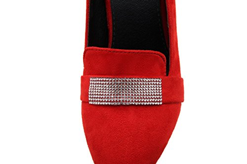 Odomolor Women's Frosted Pointed-Toe High-Heels Pull-On Solid Pumps-Shoes, Red, 32