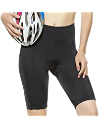 Women's Cycling Shorts with 3D Gel Padded Breathable Bike Shorts Black UPF 50+ from 4ucycling