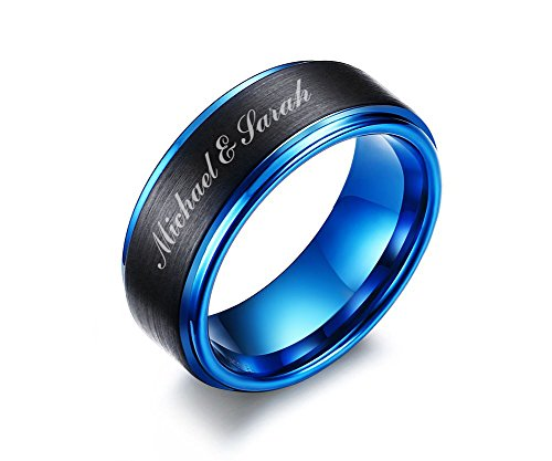 Personalized Wedding Rings (Mealguet Jewelry Personalized Free Custom Engraving Two-Tone Brushed Finish Tungsten Carbide Custom Name Wedding Ring Band for Men,Size)