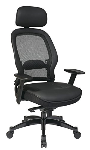 Space Seating Breathable Mesh Back and Leather Seat, 2-to-1 Synchro Tilt Control, Adjustable Arms and Lumbar Support, Gunmetal Finish Base, and Adjustable Headrest Managers Chair, Black (Deluxe Office Star Mesh)