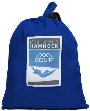One Person Parachute Nylon Hammocks for Hiking Backpacking 400 lb Weight Capacity Equip Outdoors Portable Lightweight Camping Hammock with Hanging Kit Travel /& Backyard Easy Setup Blue