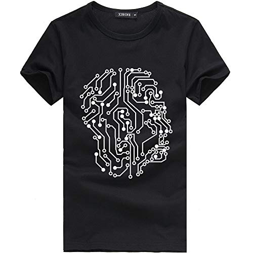 ANJUNIE Unisex Short Sleeve Tees Printing Casual T Shirt Loose Blouse (2-Black,S)