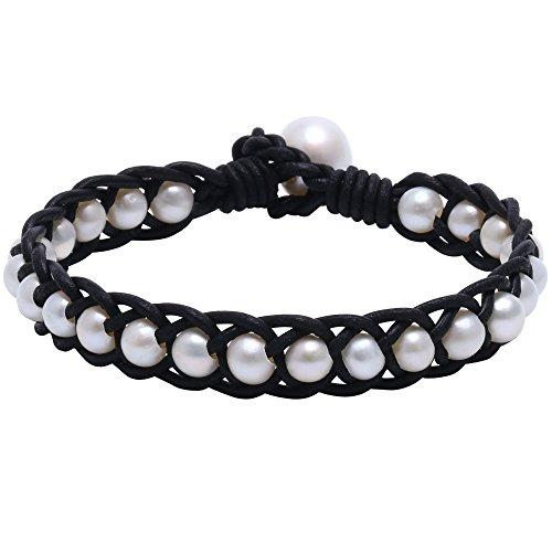 Ao Bei Aobei Hand Braided White Freshwater Cultured Pearl Bead Bracelet with Genuine Leather Cord 7.8