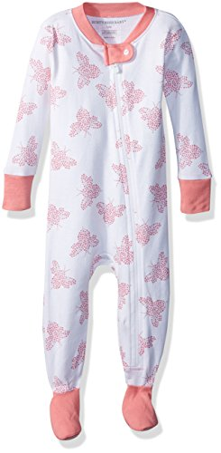 Burt's Bees Baby Baby Girls' Organic Print Zip Front Non-Slip Footed Sleeper Pajamas, Lily Snuggle Bee, 12 Months